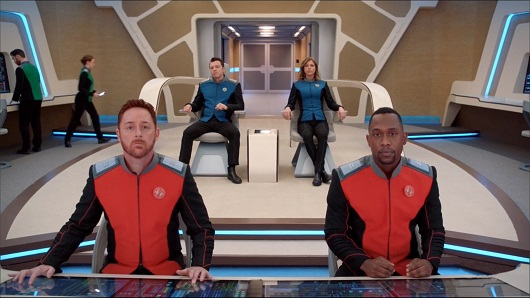 Crew of the Orville Looks to the viewscreen