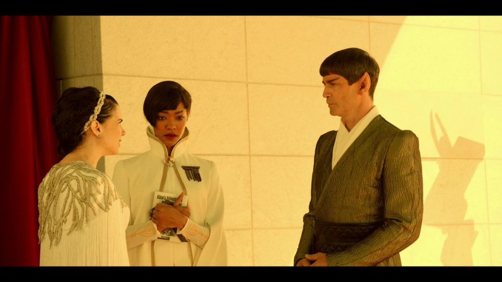 Amanda, Sarek and Michael Burnham in the Star Trek Discovery episode Lethe